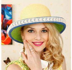 b6aee4bd6c6 Color block lace straw hat for women roll brim sun hats summer wear