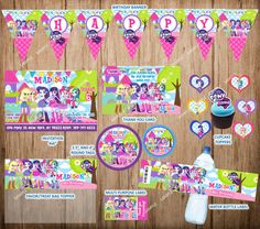 Equestria Girls Personalized Birthday Party Pack, The Equestria Girls Party Set, Printable Digital File.
