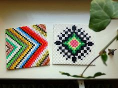 love the color combinations on these melty bead coasters : Untitled | Flickr - Photo Sharing!