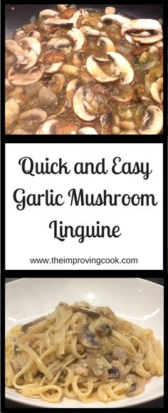 Garlic Mushroom Linguine- quick and easy recipe. Make this vegetarian pasta dish with garlic, thyme and mushrooms in a creamy sauce.