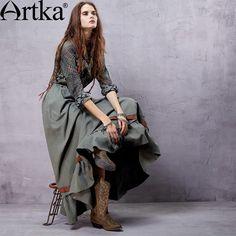 Длинная юбка в стиле бохо с резинкой на талии