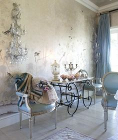 French country; pastry table, wall chandelier