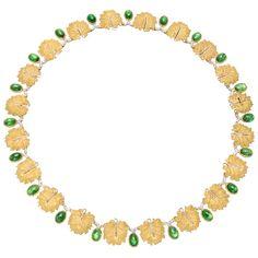 Vintage Buccellati 18k Gold & Tsavorite Leaf Link Necklace