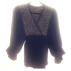 BEST BCBG Top Ever Love love love this top. Great with jeans and heels or sandals OR with a black skirt (for office) 100% Silk - blue anda tan patern. Great condition. Always dry-cleaned. XXS but it definitely runs big and has elastic in the back. I usually wear small BCBGMaxAzria Tops Blouses