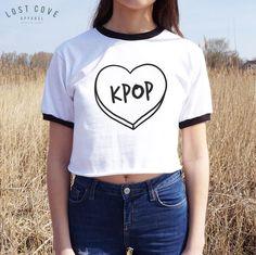 KPOP Crop Ringer Tee Top Shirt Fangirl Korean Music K-POP Fashion Boy Band Heart #Unbranded #OtherTops