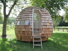"""Wouldn't it be cool if there were a little place all of your own in your backyard where you could escape from the hectic frenzy of everyday life? Enter """"The Escape Pod"""" from Podmakers. Garden Pods, Shed To Tiny House, Round House, Escape Room, Design Firms, Urban Design, Outdoor Spaces, Home And Garden, Backyard"""