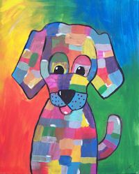 Whimsy's Dog a paint and sip painting party at Whimsy Art Studio, San Antonio, Texas