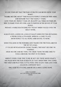 poem by Chief Tecumseh...amazing!