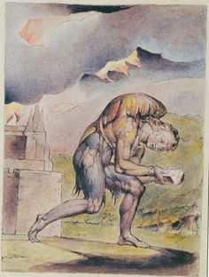 "Illustrations to John Bunyan's *The Pilgrim's Progress* By William Blake:  2 """"I saw a man cloathed with rags, standing in a certain place, with his face from his own house, a book in his hand, and a great burden upon his back."" I looked; and saw him open the book; and read therein."