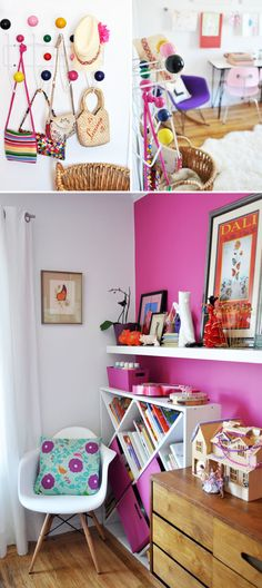 Love the pink boxes in the bookcase that match the wall.  And the fab cushion.  Via SFgirlbybay