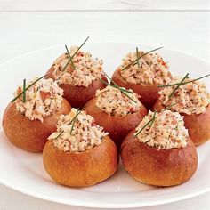 Mini Brioche Lobster Rolls- These rolls, which are a delightful play on the traditional lobster roll, are quite substantial, so one per person is plenty, especially if you're ser. Wine Recipes, Seafood Recipes, Appetizer Recipes, Cooking Recipes, Cooking Food, Fall Recipes, Lobster Roll Recipes, Lobster Rolls, Lobster Food