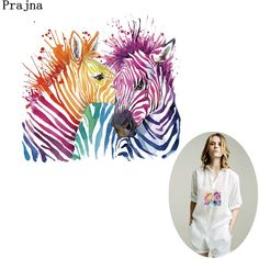 Cheap Patches, Buy Directly from China Suppliers:Prajna Zebra Couple Iron On Transfer Colorful Romantic Iron On Patch For T-shirt DIY Dress A Level Washable Pyrography Stickers