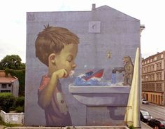 A more than lifesize reminder to brush your teeth - street art by Etam Cru in Oslo, Norway