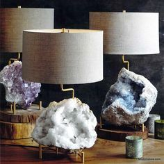 Roost Mineral Stand Lamps are a very elegant way to showcase the rich mineral specimens. The brass lamp base is telescoping and adjustable to fit a variety of mineral sizes. Hm Deco, Home Design, Crystal Decor, Crystal Lamps, Decoration Inspiration, Decor Ideas, Luminaire Design, Brass Lamp, Kelly Wearstler