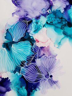 Krokus Blomst fleur flore violet peinture peinture alcool