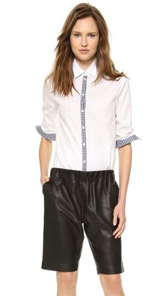 Tess Giberson Button Down Shirt with Plaid Detail