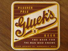 #packaging #typography Retro Minneapolis Gluek's Brewing coaster. $5.50