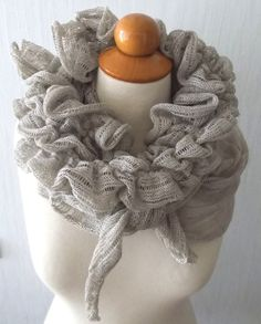 Linen Scarf Knit Shawl Wrap Flax Natural Summer by LaimaShop, $55.00