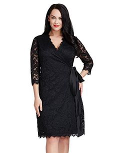 532d7700d2d LookbookStore Women s Plus Size Lace 3 4 Sleeves Formal Cocktail True Wrap  Dress  38.99 Formal