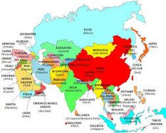 Asian countries and capitals - Asia Free Printable World Map, Asia Map, Geography Lessons, Mongolia, Science And Nature, Geology, Ankara, Georgia, China