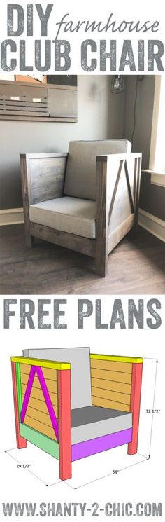 Build this custom DIY Farmhouse Club Chair for just $80 in lumber! Free plans and how-to video at www.shanty-2-chic.com