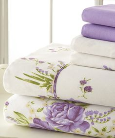 Guest Bedroom sheet ideas - Loving this Lavender Palazzo Home Luxurious Sheet Set on #zulily! #zulilyfinds
