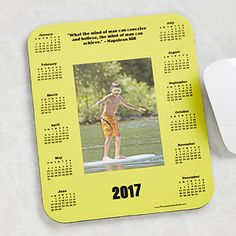 A must-have staple for every computer user at home or office, our personalized 35 Quotes & Photo Calendar Mouse Pad now stars your special photo and motivational quote right in the center!     Everyday convenience now at your fingertips with a simple glance to schedule today, next week and months ahead.   $12.99