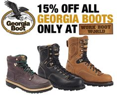 Get 15% off all Georgia Boots at http://www.workbootworld.com/collections/vendors?q=Georgia%20Boot&mc_cid=50fb4c17ab&mc_eid=2daa5bd803. Offer valid until Monday, January 19th, 2015. Must use promo code: WBWGBS011915