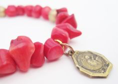 Saint Rita French Antique Catholic Medal Bracelet in Red Coral and Vintage Beads