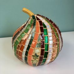 Three Fall Pumpkins in Glass Mosaic | Etsy White Serving Tray, Rainbow Glass, Fall Pumpkins, Mosaic Glass, Frames On Wall, Mosaics, Ceramics, Pearls, Gifts