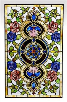 Tiffany Style Stained Glass Window Panel Very Colourful Floral Medallion Design Stained Glass Designs, Stained Glass Panels, Stained Glass Patterns, Leaded Glass, Stained Glass Art, Mosaic Glass, Window Glass, L'art Du Vitrail, Victorian Windows