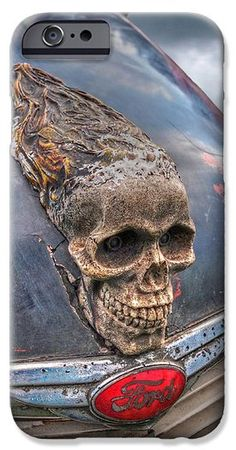 This skull hood ornament on a vintage Ford truck makes a great cell phone cover. These cellphone cases are available for iPhone4 iphone5 iphone6 samsung galaxy s4 and s5 #phonecases #phonecovers #skulls