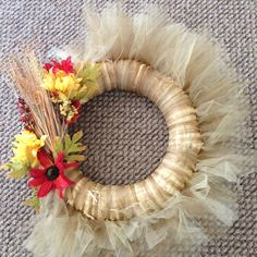Mom's birthday present. Pinterest-inspired tulle fall wreath. Birthday Presents For Mom, Mom Birthday, Birthday Ideas, Front Porch, Babys, Banners, Tulle, Thanksgiving, Wreaths