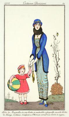 Armand Vallée (French, fl.1912-1914). Plate 41.  Robe de Mousseline de soie brodée et soutachée a Jaquette ouverte bordee de Skungs - Costume d'enfant en Ottoman corail rose bordé de cygne