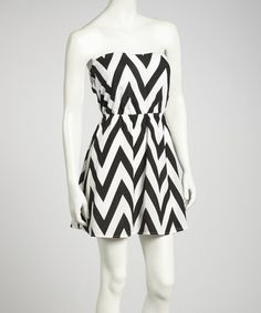 Take a look at this Black & White Chevron Dress by Clothing Showroom on #zulily today!