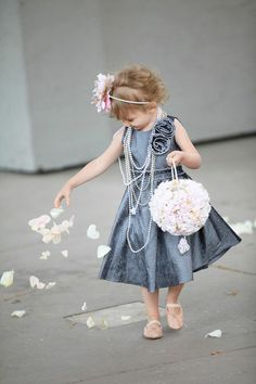 dreamy flower girl in gray with pearls...via Fanci Taste  just adorable!