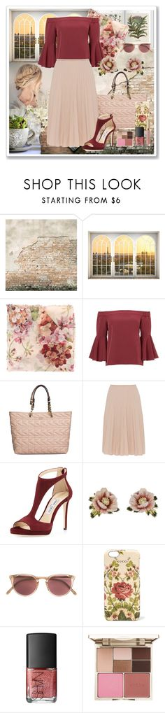 """""""Sweet Floral Scarf"""" by dazzling-dazed-dayz ❤ liked on Polyvore featuring WALL, Gucci, Karl Lagerfeld, Piazza Sempione, Jimmy Choo, Les Néréides, Oliver Peoples, NARS Cosmetics and Stila"""