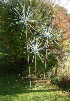 Set of three Large Allium sculptures by Iron Vein designer makers