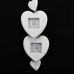 NEW GISELA GRAHAM DISTRESSED WHITE WOOD TWO HEART PHOTO FRAMES & TWO HEARTS