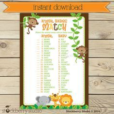 Exceptional Safari Baby Shower Animal Match Game Printable   Instant Download   Neutral Baby  Shower Games Printable   Jungle Baby Shower Activities