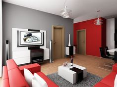 Stunning Interior Design For Small Apartments: Exciting Modern Minimalist Small Apartment Living Room Design With Red Sofa And White Cushions White Table And Gray Fur Rug Tv Soynd System Pendant Lamps Dining Table And Black Chairs Also Laminate Flooring ~ idungu.com Apartment Inspiration