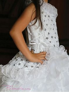 White Gorgeous One Shoulder Embroidery Sequins Flower Girl Dress Sequin Flower Girl Dress, Cheap Flower Girl Dresses, Girls Dresses, First Communion Dresses, Plus Size Girls, Easter Dress, Pageant Dresses, One Shoulder, Sequins