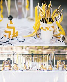 Preppy & Playful Chevron Birthday Party Kids Striped Yellow Girls