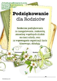 Podziękowania dla rodziców uczniów do pobrania edycji i druku za darmo Polish Language, Morning Blessings, Words Of Encouragement, Activities For Kids, Diy And Crafts, Kindergarten, Prayers, Blessed, Place Card Holders