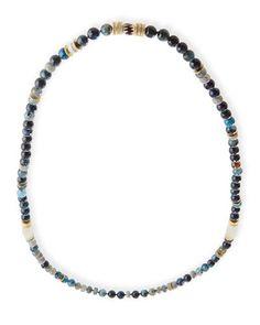 Akola Long Paper Moonstone Beaded Necklace with Leather Tassel I2vehA