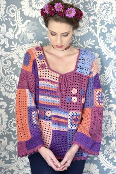Crochet Top Patterns Free pattern for gypsy* top. *this is a racial slur, plz stop using it. Like, just say boho or something, seriously. Gypsy Crochet, Cardigan Au Crochet, Pull Crochet, Crochet Jacket, Freeform Crochet, Crochet Woman, Crochet Cardigan, Crochet Shawl, Crochet Tops