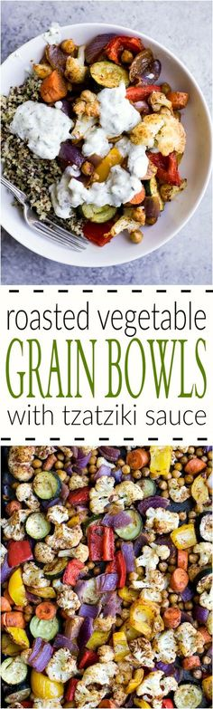 Roasted Vegetable Grain Bowls – a gluten free grain bowl filled with spiced roasted vegetables then covered in a creamy Tzatziki Sauce. A meal your family will love and perfect for meatless Monday!