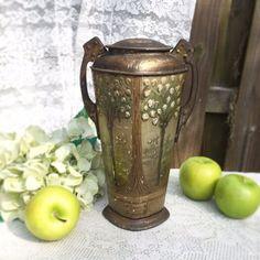 Rare Antique Vase Tin Litho Box Art Nouveau Tree Floral Crawford Urn Decorative Figural Tea Biscuit Victorian by WonderCabinetArts