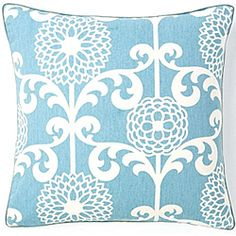 @Overstock - Brighten up your bed, chair, or sofa with this blue decorative pillow from Jiti Pillows. A beautiful sky blue and white color palette give this pillow an inviting, pleasant look, while feather and down fill makes it as soft as a cloud.http://www.overstock.com/Main-Street-Revolution/Floret-Sky-20x20-inch-Cotton-Decorative-Pillow/6421814/product.html?CID=214117 $69.99