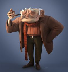 Oldman with a pipe, Yannick Dondi on ArtStation at https://www.artstation.com/artwork/lyaq5